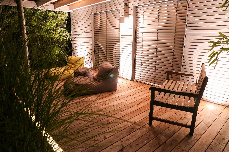 Haus Winkelwiesen BeleuchteteTerrasse bei Nacht